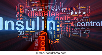 incandescent, concept, insuline, fond, diabète