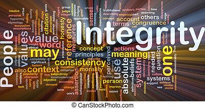 incandescent, concept, intégrité, principes, fond