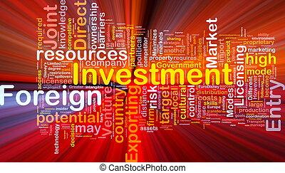 incandescent, concept, investissement, fond, étranger