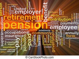 incandescent, concept, pension, fond
