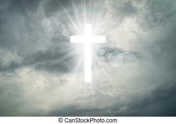 incandescent, faith., croix, saint, signe