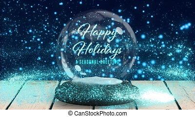 incandescent, fond, taches, heureux, texte, contre, boule de neige, bleu, vacances