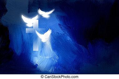 incandescent, graphique, chrétien, croix, colombes