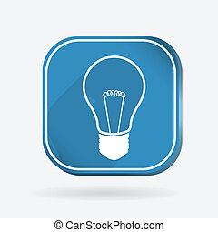 incandescent lamp. Color square icon