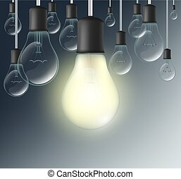 incandescent lamp on a dark blue background