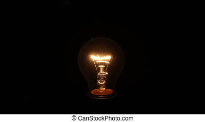 incandescent lamp on isolated black