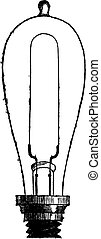 Incandescent Lamp or Carbon-filament Lamp by Thomas Alva Edison, vintage engraved illustration. Trousset encyclopedia (1886 - 1891).