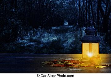 incandescent, lanterne, feuilles, automne