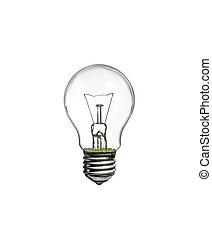 Incandescent light bulb i on white background