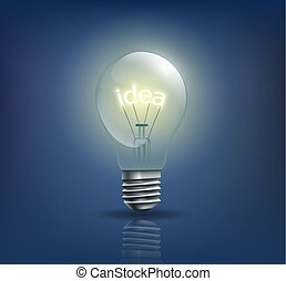 incandescent light bulb with the word idea instead of a spiral