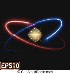 incandescent, model., atome