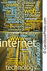 incandescent, mot, nuage, internet