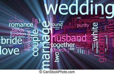 incandescent, mot, nuage, mariage