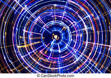 incandescent, multicolore, cercle, électrique