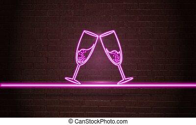 incandescent, néon, champagne., signe