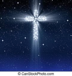 incandescent, religieux, croix, dans, étoiles