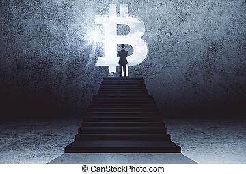 incandescent, signe., bitcoin, escalier, debout, homme affaires, regarder
