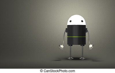 incandescent, tête, robot, découragé