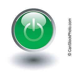 incandescent, vert, bouton