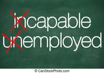 incapable unemployed concept handwritten on the school blackboard