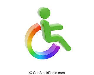 incapacidade, ícone, símbolo