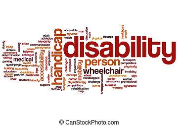 incapacidade, palavra, nuvem