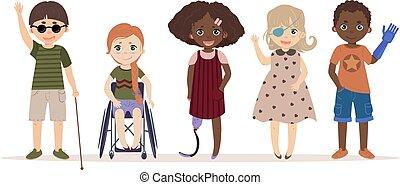 incapacidades, children., necesidades, especial, niños