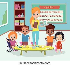 incapacidades, clase, incapacitado, children., especial, ...