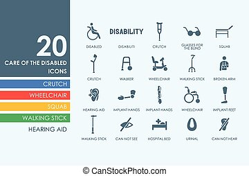 incapacidades, jogo, pessoas, ícones