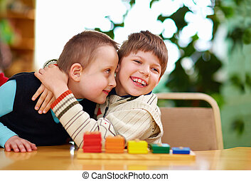 incapacidades, niños, preescolar, feliz