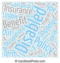 incapacité, assurance, ligne, texte, fond, wordcloud, concept