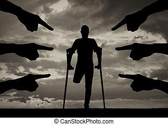 incapacité, concept, problèmes, discrimination, social