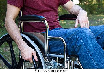 incapacité, homme, fauteuil roulant
