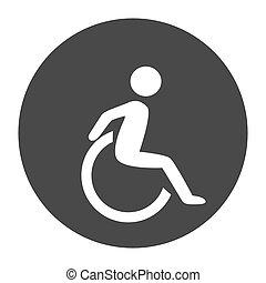 incapacité, humain, chaise, symol