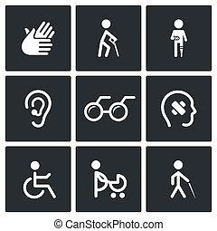 incapacité, icônes, ensemble