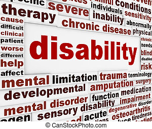 incapacité, monde médical, message, fond