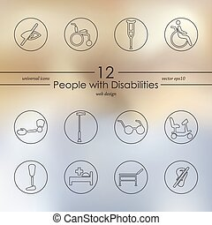 incapacités, ensemble, gens, icônes