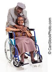 incapacitado, 3º edad, mujer africana, y, ella, cuidado,...