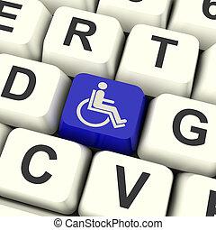 incapacitado, acesso cadeira rodas, limitou, tecla, ou,...