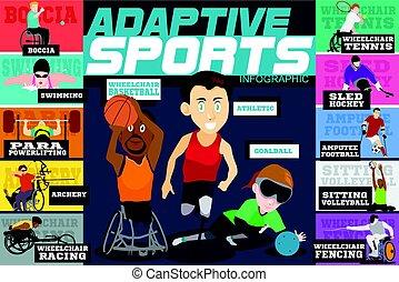 incapacitado, adaptável, esportes, atletas, infographics