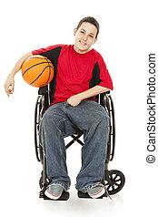 incapacitado, adolescente, atleta