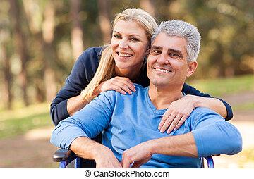 incapacitado, amando, ao ar livre, marido, esposa