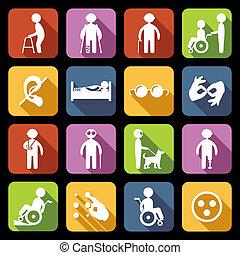 incapacitado, apartamento, jogo, ícones