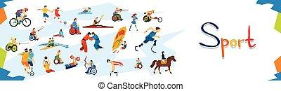 incapacitado, atletas, deporte, bandera, competición