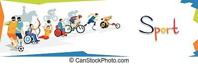 incapacitado, atletas, deporte, competición, bandera
