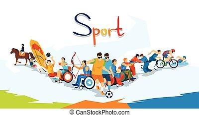 incapacitado, atletas, desporto, competição, bandeira