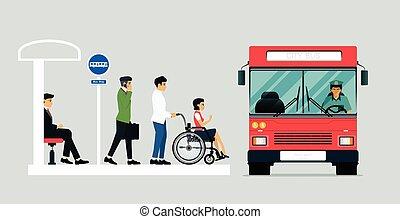 incapacitado, autocarro