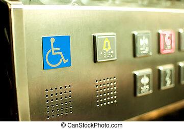 incapacitado, botones, elevador