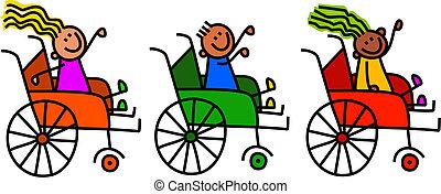 incapacitado, cadeira rodas, crianças