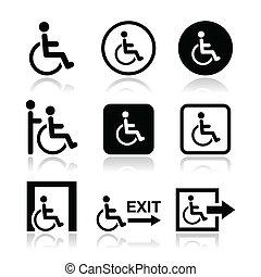 incapacitado, cadeira rodas, homem, ícones